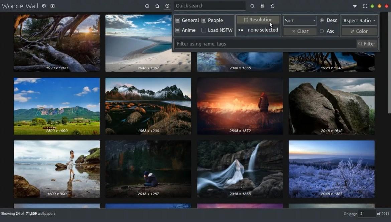 Wonderwall wallpaper manager filters widget