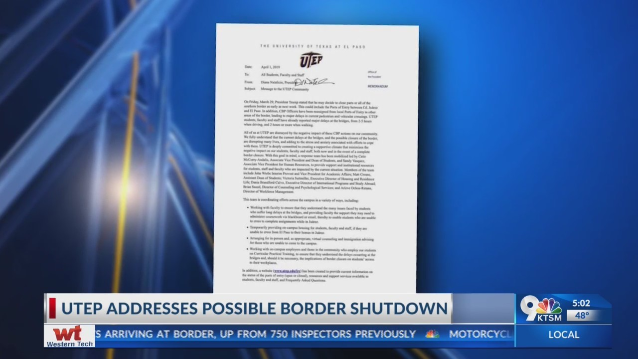 UTEP Prepares for possible border shut down