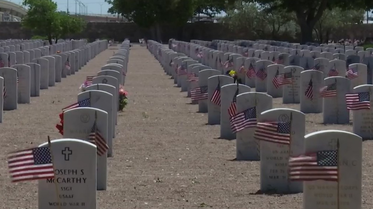 Thousands of American flags placed at Fort Bliss cemetery on Memorial Day Weekend
