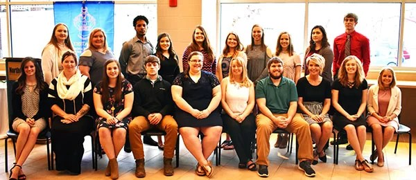 Front row, L to R: Allison Batson (Princeton); Billie Dee Birge, (Princeton); Kalee Black, (Savannah); Jesse Blakely, (Chillicothe); Tonya Carter, (Mooresville); Austin Dotson, (Cameron); Keri Gott, (Trenton); Payton Greiwe, (Madison); Shambree Hagan, (Princeton). Back row, L to R: Rachel Marmaud, (St. Joseph); Alissa Maloney, (Macon); Enrique Madera (Willemstad, Curacao); Ana Lopez, (Milan); Olivia Lauhoff, (Chillicothe); Kylei Lamp, (Princeton); Madison Keim, (Kirksville and Queen City); Emily Kasinger, (Trenton); Andrea Hill, (Milan); Calvin Heidenwith, (Unionville).