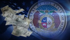 Great seal of Missouri and US Flag with money