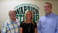 Dr. Tracy Platt, Smithville High School Principal flanked by Zane Myers on the right and Steve Maxey, Community Foundation Marketing Director on the left.