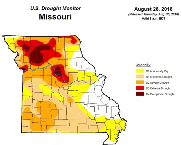 US Drought Map of August 28, 2018