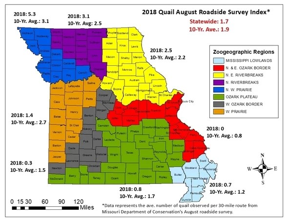 Missouri Quail Forecast Map 2018