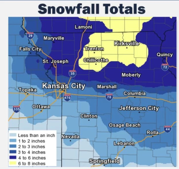 Snow Totals Map for January 18 2019