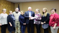 From left, Cindy Collier, Mayor Pro Tem; Thresa Kussman, City Council; Donald Grotjan, City Council; Joni DeWeese, City Clerk; Jeff Tindle, CCMH Chief Executive Officer; Kristen Butterfield, Brunswick Youth Development Initiative Committee President; Cindy Gilman, CCMH Associate Chief Nursing Officer; and Jessica Elliott, Brunswick Youth Development Initiative Committee Member. (Rachel Arth/CCMH)