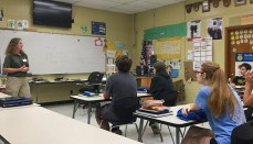Anna Persell speaks to students at Trenton