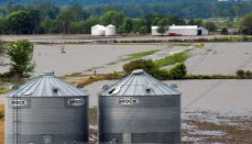 Flooded Farm Grain Bins