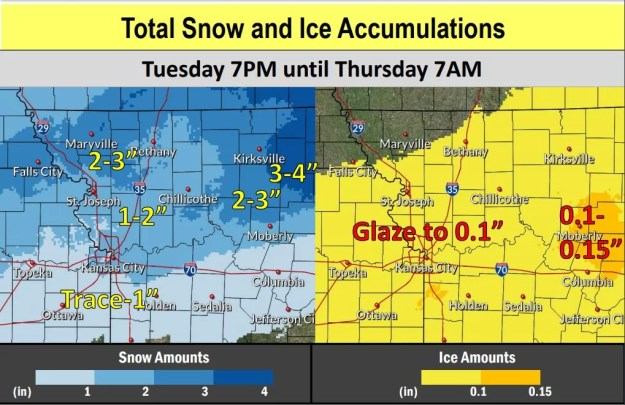 Potential for Snow and Ice accumulations
