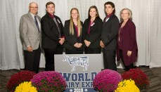 Missouri 4-H Dairy Judging Team includes, from left, Ted Probert, coach; Blake Wright; Hala Edquist; Bailey Groves; Nicolas Dotson; and Karla Deaver, coach