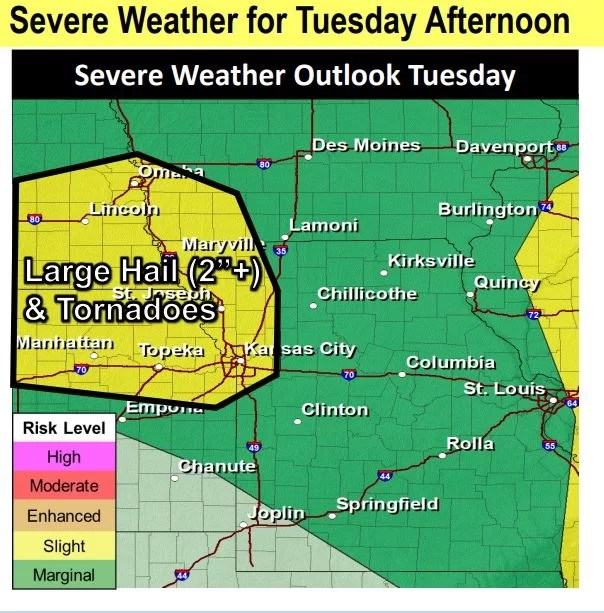 Severe weather outlook Tuesday afternoon June 9, 2020