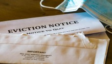 Eviction Notice with face mask