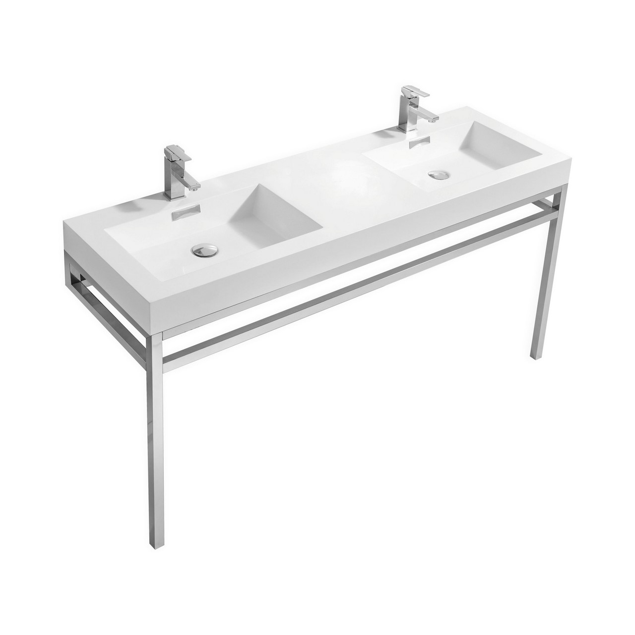 "Haus 60"" Double Sink Stainless Steel Console w/ White"