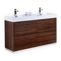 "Bliss 60"" Double Sink Walnut Free Standing Modern Bathroom ..."