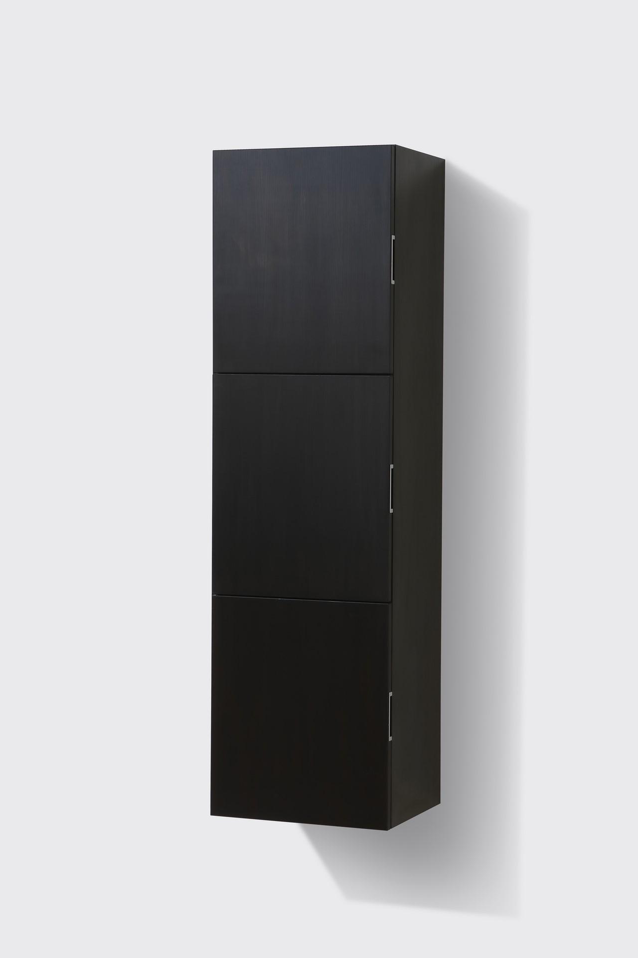 Bathroom Black Wood Linen Side Cabinet w 3 Large Storage