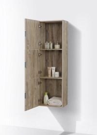 Bathroom Nature Wood Linen Side Cabinet w/ 3 Large Storage ...