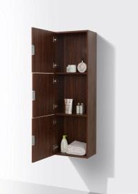 Bathroom Walnut Linen Side Cabinet w/ 3 Large Storage ...