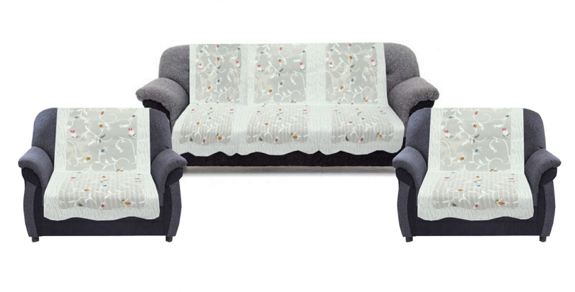 sofa seat cover design adirondack bed kuber industries 6 pieces white leaf and