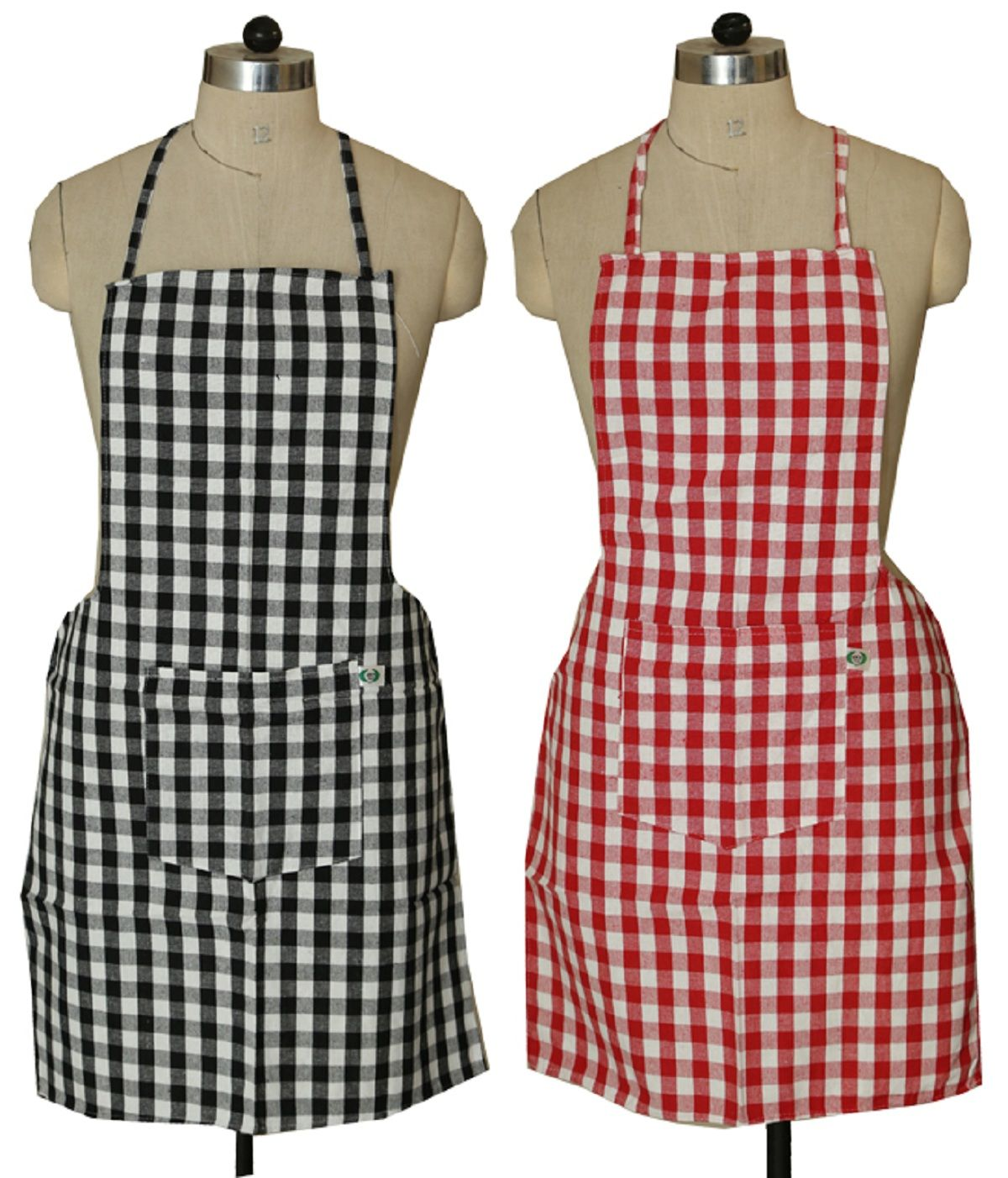 kitchen aprons particle board cabinets kuber industries check design apron with front pocket set of 2 pcs black