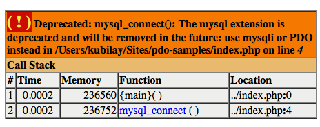 Deprecated: mysql_connect()