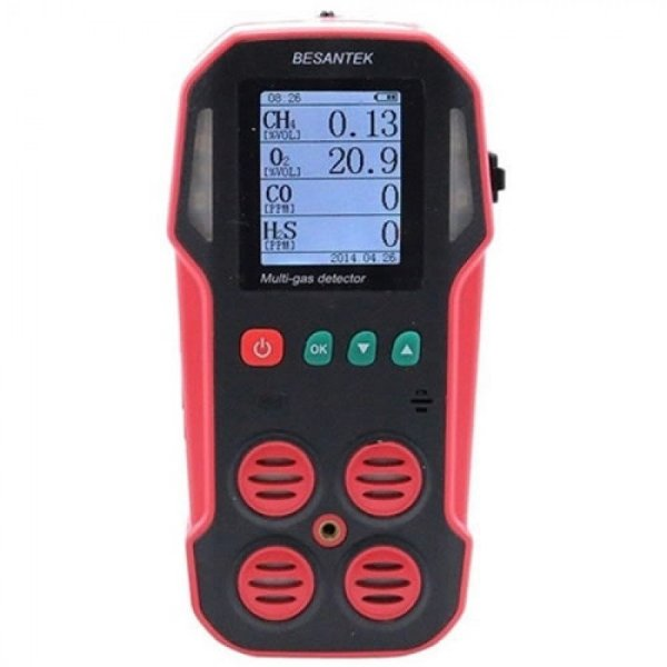 Besantek BST-MG06 Multi-Gas Detector Data Logger, O2, CO, H2S, Lel With Air Pump