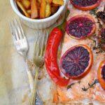 Łosoś w pomarańczach.Z karmelizowanym pasternakiem. Moja Magdo!
