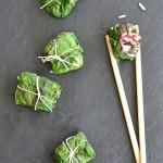 Tuńczyk, jaśminowy ryż i liście botwinki. Wiosenne paczuszki na parze dobre na chandrę…