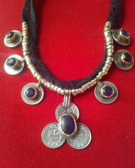 Kuchi Afghani Necklace with Stone and Coins