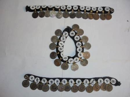 White Button & Coins Anklet Pair