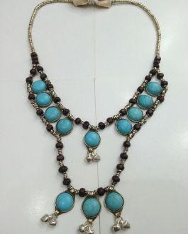 Turquoise Stone & Bells Necklace