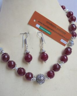 Round Coral Stone Necklace Plus Ear Ring Set
