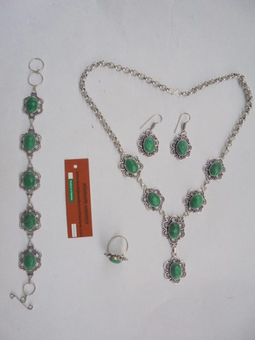 Malachite Stone Necklace Set