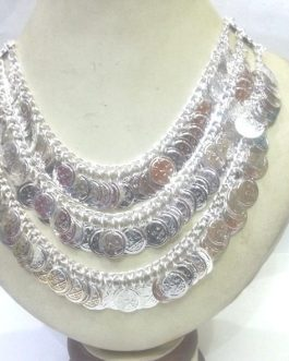 3 Layer Metal Silver Coins Necklace-IN