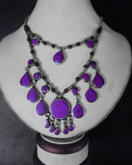 2 Lines Purple Vintage Necklace