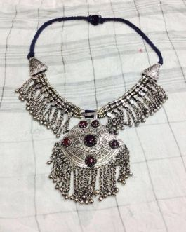 German Silver Moon Tribal Necklace