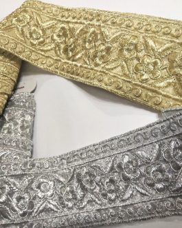 Wide Flower Metallic Embroidered Trim (8.6mtrs)