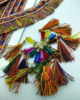 Multi Color Fringe Trim 7mtr & Tassels 12pcs