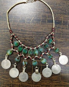 Synthetic Stone And Vintage Coins Choker