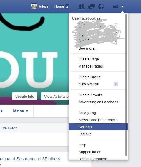 go facebook setting