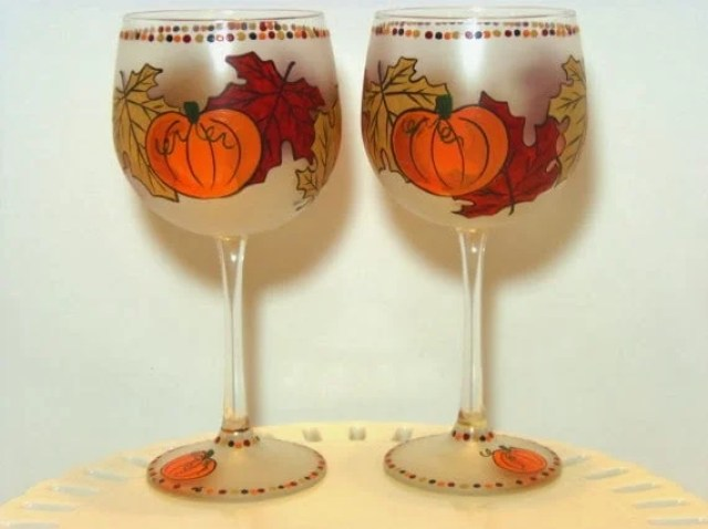 Autumn Leaf and Pumpkin Painted Wine Glass