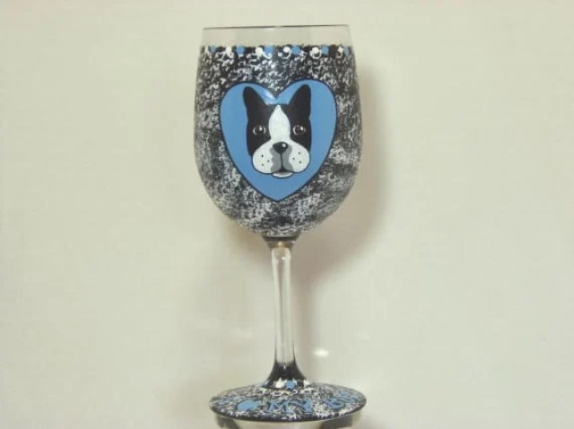 Boston terrier painted wine glass