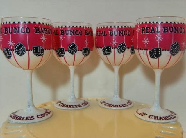 bunco painted wine glasses
