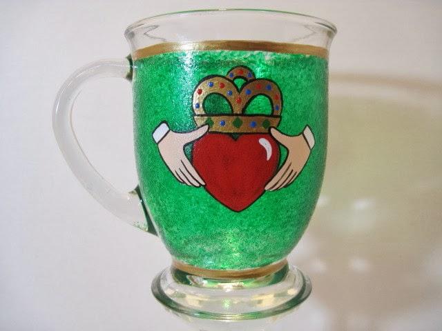Irish Claddagh painted coffee mug