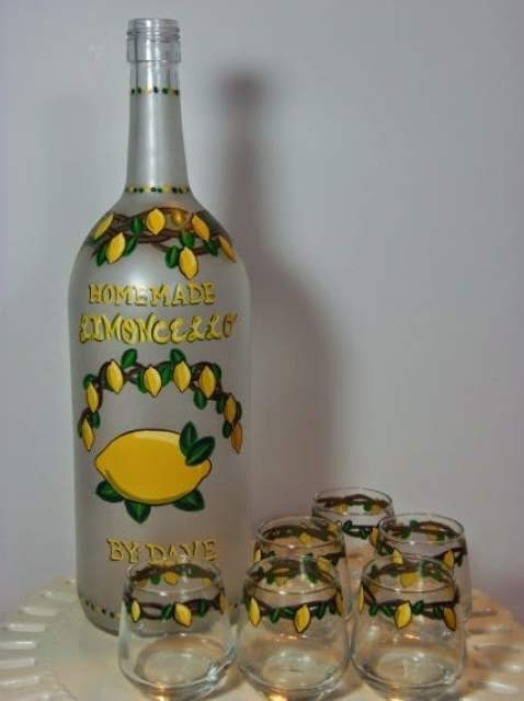 Custom Painted Limoncello bottle and cordial glasses via Kudos Kitchen By Renee