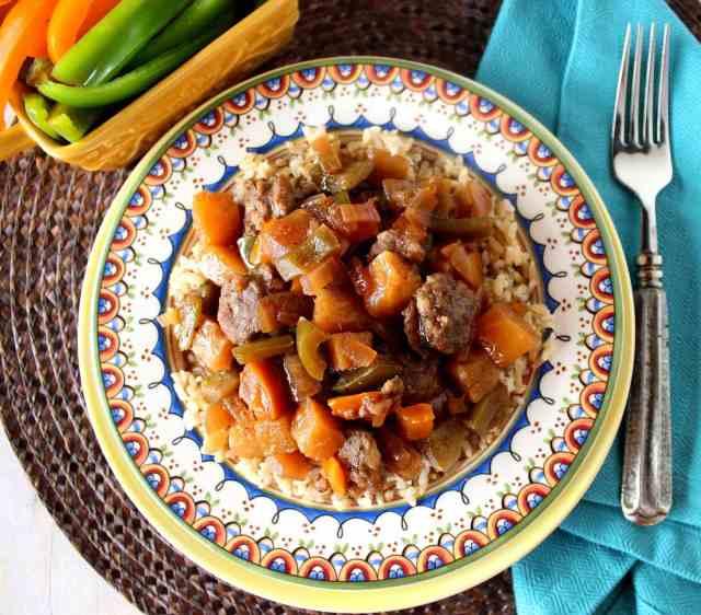 Sweet and Sour Sausage Recipe via Kudos Kitchen By Renee
