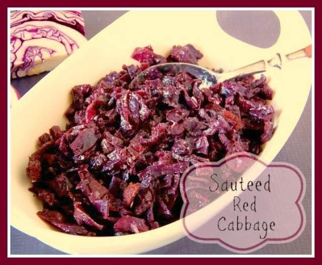 Sauteed Red Cabbage with Bacon and Brown Sugar Recipe via Kudos Kitchen By Renee