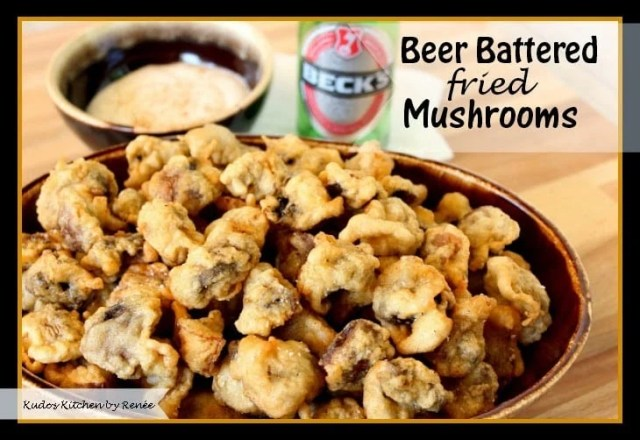 Golden Beer Batter Fried Mushrooms with Ranch Horseradish Dipping Sauce - kudoskitchenbyrenee.com