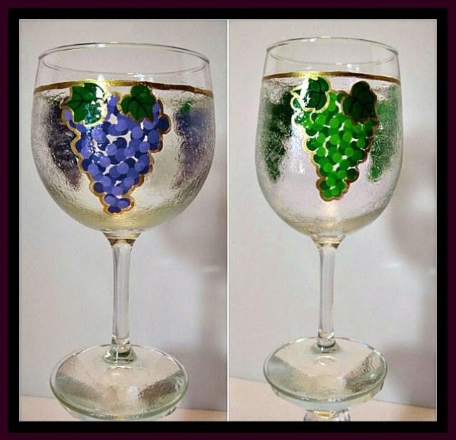 Textured Grapes Painted Wine Glass via kudoskitchenbyrenee.com