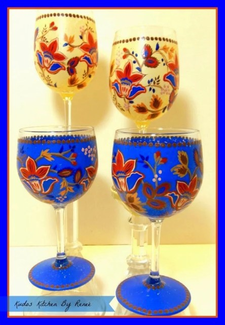 Custom painted Masala wine glasses via kudoskitchenbyrenee.com