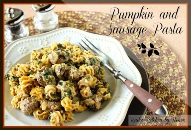 Pumpkin and Sausage Pasta with cream cheese and spinach.